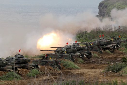 M60A3 tanks fire off shells during annual Han Kuang military drill in Penghu, Taiwan. (Reuters)