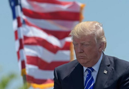 President Donald Trump attends the commencement address at the U.S. Coast Guard Academy in New London, Conn., Wednesday, May 17, 2017. Controversies concerning Trump have GOP donors alarmed. (Susan Walsh, AP)