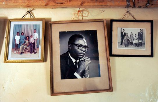 Original copies of books written by Barack Obama Sr., center, the father of Barack Obama, have surfaced more than half a century after they were written. They are up for auction until Monday. (Credit: Ben Curtis/Associated Press)
