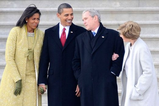 WASHINGTON - JANUARY 20:  Former U.S. President George W. Bush (2-R), his wife Laura (R) stand with President Barack Obama (2-L) and first lady Michelle Obama (L) as Bush departs from the U.S. Capitol after the inauguration of Barack Obama as the 44th president of the United States of America on January 20, 2009 in Washington, DC. Obama is the first African-American to be elected to the office of President in the history of the U.S.  (Photo by Tannen Maury-Pool/Getty Images)