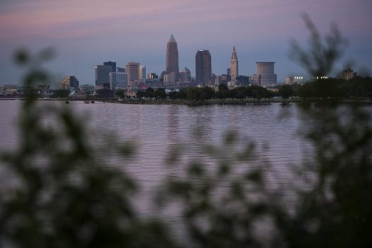 Downtown Cleveland is seen from the Edgewater neighborhood as the sun sets in 2016. (Jabin Botsford/The Washington Post)