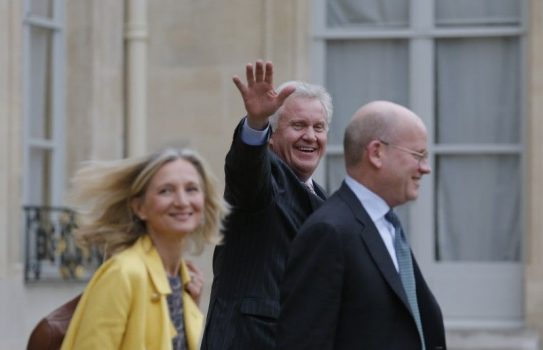 General Electric Chairman and CEO Jeffrey Immelt (C), Senior Vice President for Corporate Business Development John Flannery and Clara Gaymard (L), the head of GE France, leave after a meeting with French President to discuss the future of French engineering group Alstom at the Elysee Palace