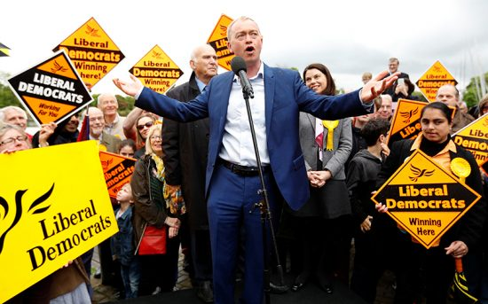 Leader of the Liberal Democrats Party, Tim Farron, speaks at the launch of the party's General Election campaign in Kingston-Upon-Thames, Britain, on May 1, 2017. (Photo courtesy of Reuters/Peter Nicholls)