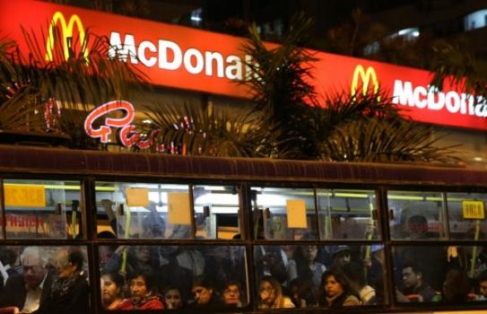 A bus passes near a McDonalds restaurant in Miraflores district of Lima, Peru, June 15, 2017. REUTERS/Mariana Bazo
