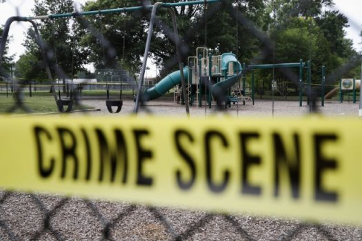 A playground near the baseball field is cordoned off with police tape as the investigation continue at the scene in Alexandria, Va., Thursday, June 15, 2017, the day after House Majority Whip Steve Scalise of La. was shot during during a congressional baseball practice. (Jacquelyn Martin/Associated Press)
