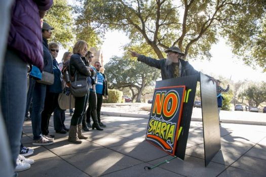 Rick Ellis yells at Muslim attendees of Muslim Capitol Day in Austin, Tex., in January. Rallies scheduled across the country on Saturday, including in Austin, aim to attack Islamic law. (Ilana Panich-Linsman/For The Washington Post)