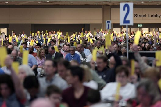 Thousands of Southern Baptist Convention delegates voted on a new president and several resolutions at their meeting on June 10, 2014. (Photo by Van Payne via Baptist Press)