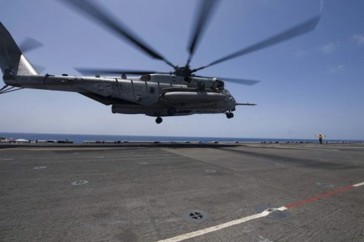 A CH-53 Super Stallion helicopter lands on the flight deck of the amphibious assault ship Bataan in April. (Petty Officer 2nd Class Magen F. Reed/ Navy)