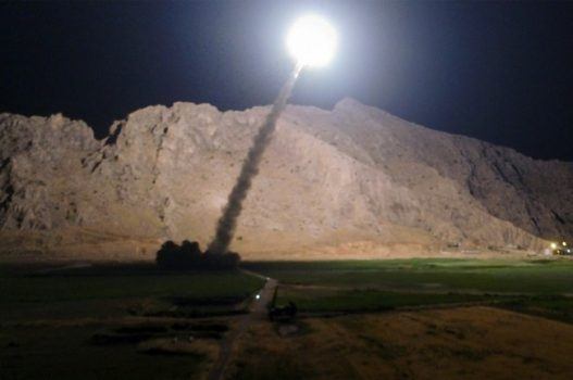 In this picture released by the Iranian state-run IRIB News Agency on Monday, June 19, 2017, a missile is fired from city of Kermanshah in western Iran targeting the Islamic State group in Syria. Iran's powerful Revolutionary Guard, a paramilitary force in charge of the country's missile program, said it launched six Zolfaghar ballistic missiles from the western provinces of Kermanshah and Kurdistan. (IRIB News Agency, Morteza Fakhrinejad via AP) (Associated Press)