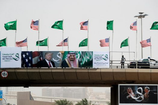 Along the motorcade route for President Trump, on the way to the airport in Riyadh, Saudi Arabia, where he recently attended a summit meeting. (Credit: Stephen Crowley/The New York Times)