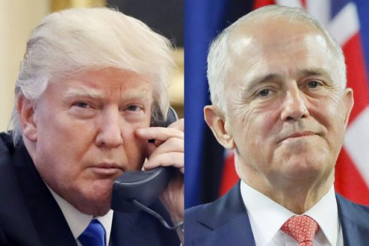FILE - This combination of file photos shows, from left to right: U.S. President Donald Trump on Jan. 28, 2017, and Australian Prime Minister Malcolm Turnbull on Nov. 20, 2016.  (Alex Brandon, Pablo Martinez Monsivais Files/Associated Press)