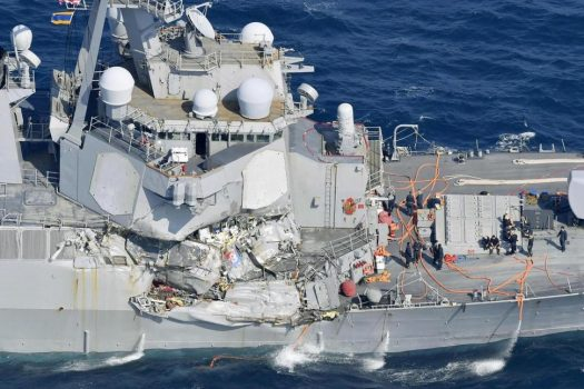 The damage of the right side of the USS Fitzgerald is seen off Shimoda, Shizuoka prefecture, Japan, after the Navy destroyer collided with a merchant ship, Saturday, June 17, 2017. The U.S. Navy says the USS Fitzgerald suffered damage below the water line on its starboard side after it collided with a Philippine-flagged merchant ship. (Iori Sagisawa/Kyodo News via AP) THE ASSOCIATED PRESS
