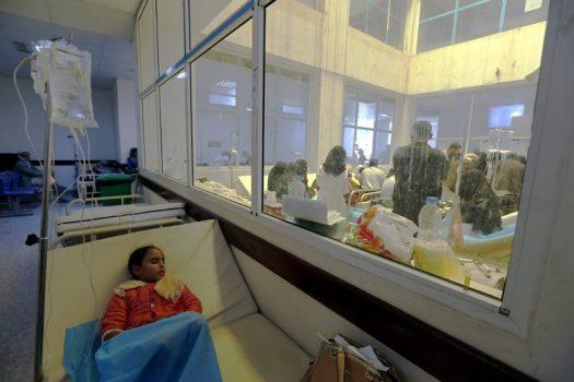 A Yemeni child with cholera symptoms received medical care at a hospital in Sana last week. (Credit: Yahya Arhab/European Pressphoto Agency)