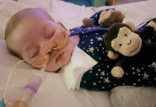 Undated photo of Charlie Gard provided by his family, at Great Ormond Street Hospital, in London. FAMILY OF CHARLIE GARD VIA AP