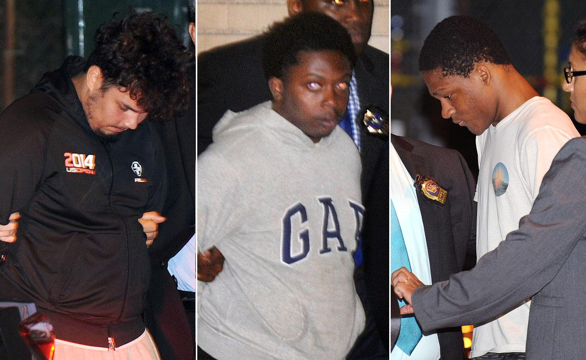 Left to right: Julisses Ginel, Brandon Walker and Justin Williams are being taken by Detectives from the NYPD's Queens Special Victim Unit, located in the 112th Precinct.  (SAM COSTANZA AND VIC NICASTRO FOR NEW YORK DAILY NEWS)