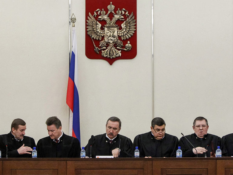 Judges of Russia's Supreme Court attend a hearing in Moscow, Russia, on Jan. 23, 2014. (Photo courtesy of Reuters/Maxim Shemetov)