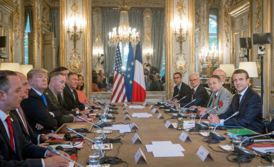 President Trump and President Emmanuel Macron of France held a bilateral meeting on Thursday at the Élysée Palace in Paris. (Credit: Stephen Crowley/The New York Times)
