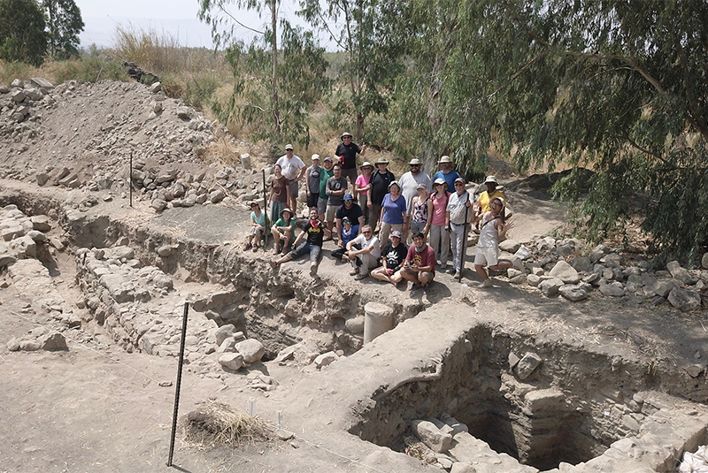 The archeological team at the excavation site in northern Israel. (Photo by Zachary Wong)