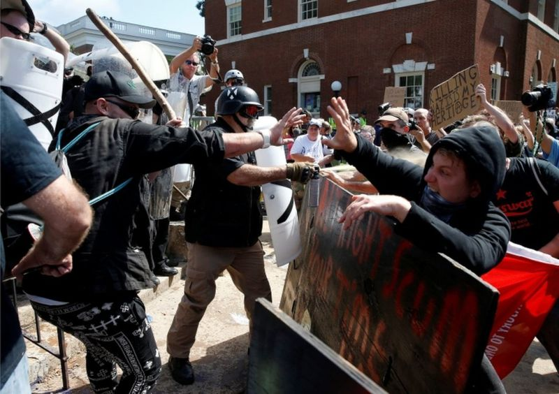 White nationalist protesters clash with police in Charlottesville, VA.