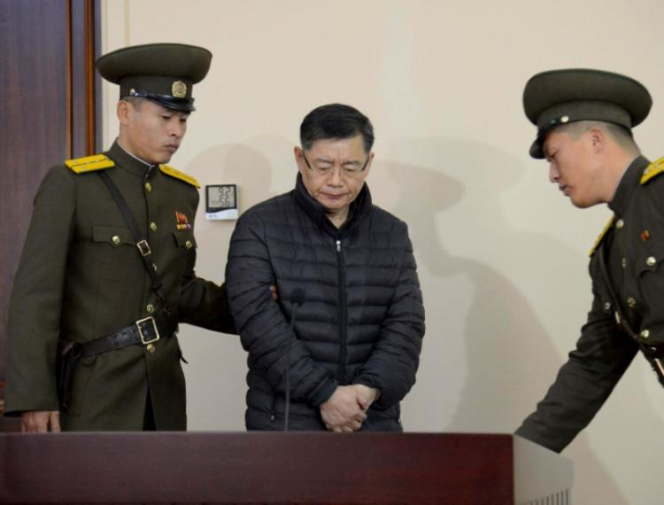 FILE PHOTO - South Korea-born Canadian pastor Hyeon Soo Lim stands during his trial at a North Korean court in this undated photo released by North Korea's Korean Central News Agency (KCNA) in Pyongyang December 16, 2015. KCNA/File Photo via REUTERS