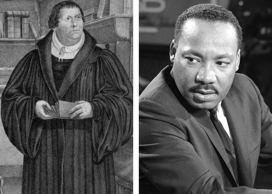 Martin Luther and the Rev. Martin Luther King Jr.  (AP Photos)
