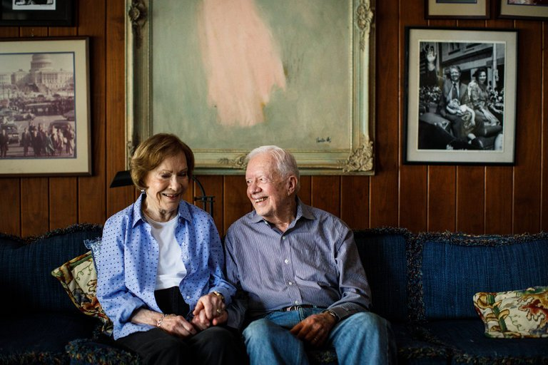 Jimmy and Rosalynn Carter in their home in Plains, Ga. (Credit: Dustin Chambers for The New York Times)