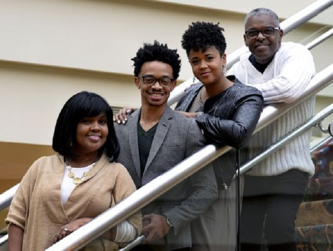 CeCe Winans, left, and her husband, Alvin Love II, right, encouraged Dwan and Laura Hill to start dating. The four pose for a picture after a service at Nashville Life Church in Nashville Tenn., where Winans and her husband are pastors. (Photo: Mark Zaleski/For the Tennessean)