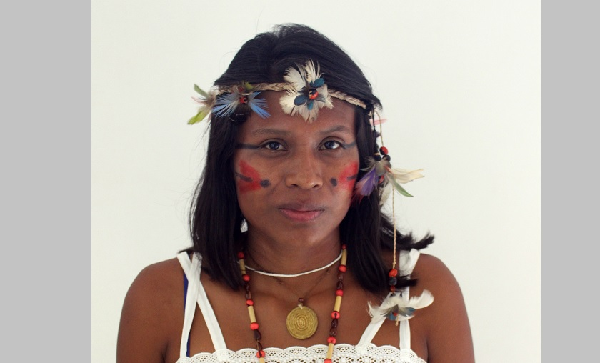 Erileide Domingues of the Guarani-Kaiowa tribe, pictured in a March 18 photo in Brasilia, Brazil, went to the Alternative World Water Forum to denounce agro-toxins in her community's drinking water. (Credit: CNS photo/Lise Alves.)