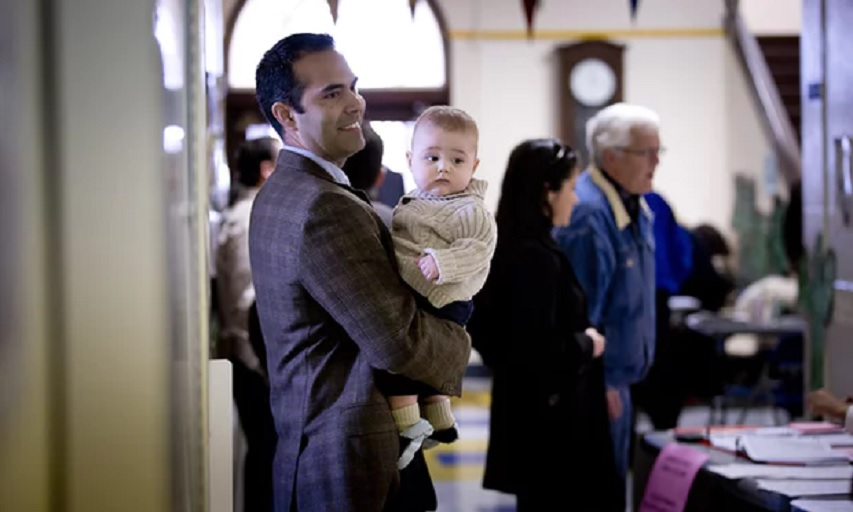 George P Bush with son Prescott, turns out for a primary election in Fort Worth, Texas, in March 2014. (Photograph: Fort Worth Star-Telegram/MCT via Getty Images)