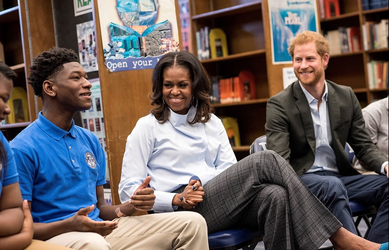 Michelle Obama and Prince Harry speak to students at Hyde Park Academy in Chicago, Ill. (Christopher Dilts/The Obama Foundation)