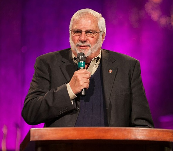 Rick Joyner speaking from the podium at MorningStar Ministries in Fort Mill, South Carolina in 2013
