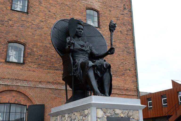 "The statue of Mary Thomas called ""I Am Queen Mary"" is the first public monument to a black woman in Denmark, according to the artists. (Credit: Nick Furbo)"
