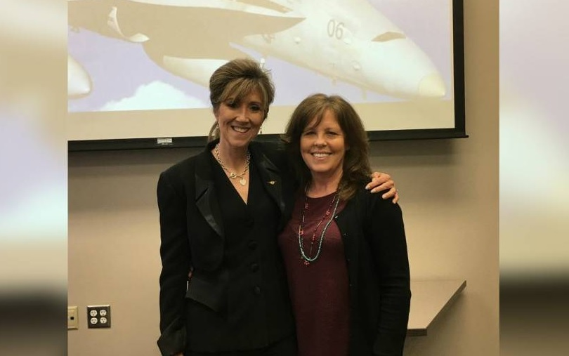 Tammie Jo Shults (left) with former MidAmerica Nazarene classmate Cindy Foster. Shults, the Southwest pilot forced into an emergency landing on Tuesday, returned to the Olathe university's campus last year to discuss her career and encourage women to break into male-dominated fields. (Kevin Garber, MidAmerica Nazarene)