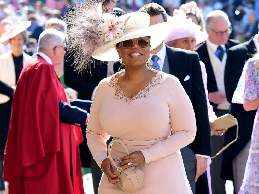 Oprah Winfrey arrives at St George's Chapel at Windsor Castle before the wedding of Prince Harry to Meghan Markle, May 19, 2018, in Windsor, England.