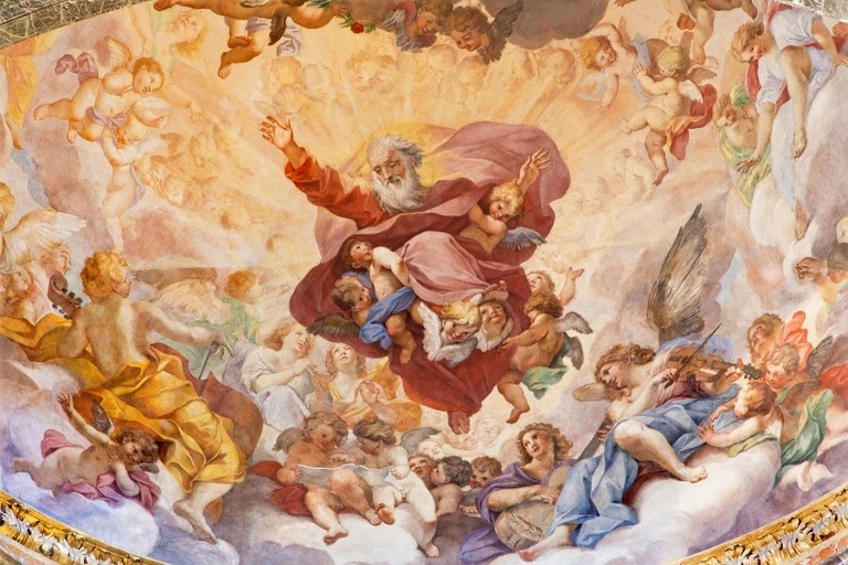 """Like most images of God, the Roman fresco """"The Eternal in Glory,"""" painted by Luigi Garzi in 1685, shows God as a man. (iStock)"""