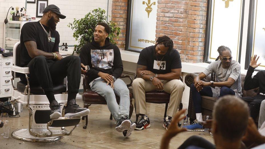 From left: LeBron James, Maverick Carter, Seattle Seahawks defensive end Michael Bennett and Snoop Dogg (John Johnson, HBO)