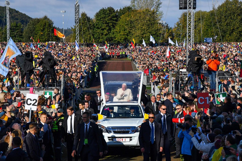 Pope Francis in Kaunas, Lithuania, on Sunday. (Credit: Alessandro Di Meo/EPA, via Shutterstock)