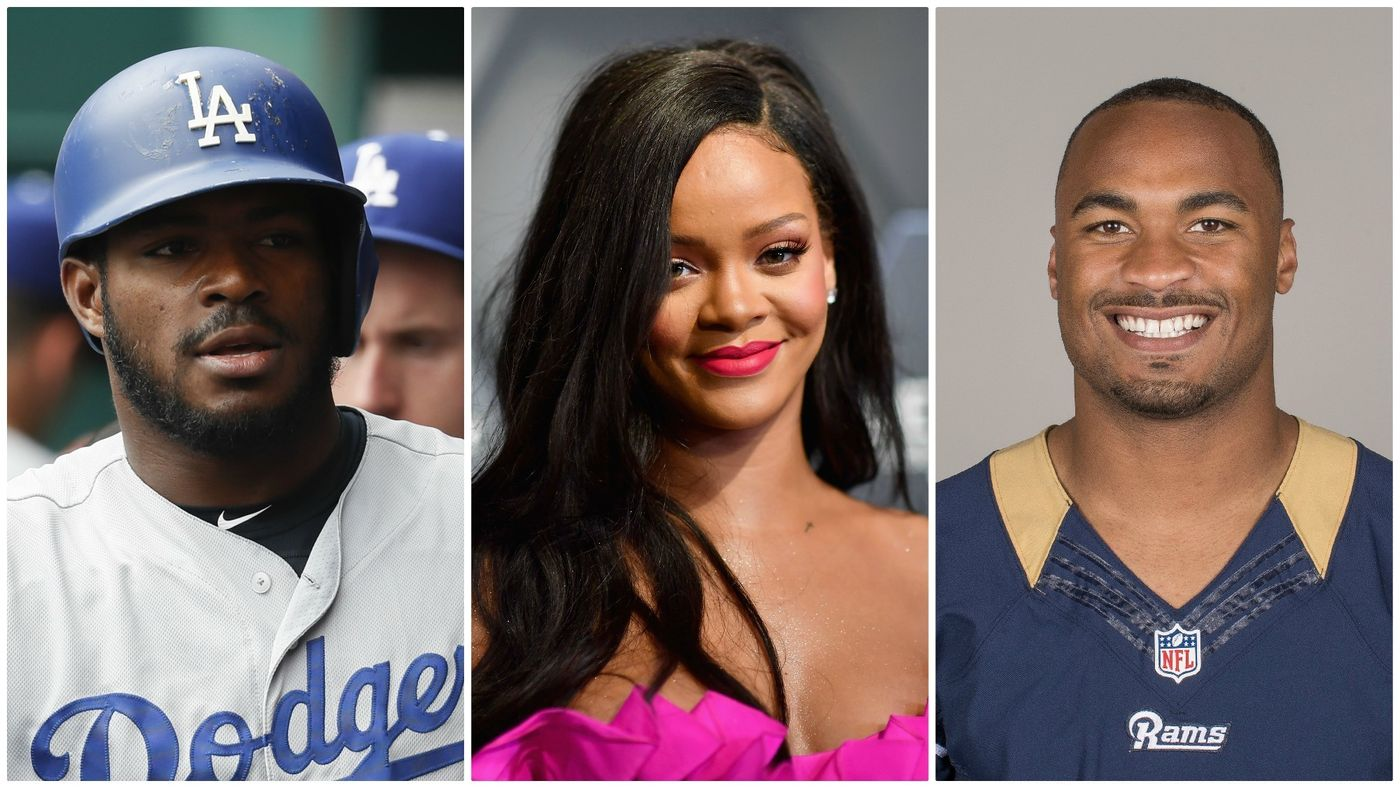 The homes of Yasiel Puig, Rihanna and Robert Woods have all been burglarized recently, according to police. (John Minchillo / Associated Press; Angela Weiss / AFP/Getty Images; Associated Press)