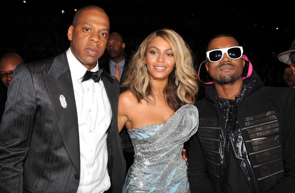Rapper Jay-Z, singer Beyonce and rapper Kanye West at the 50th Annual GRAMMY Awards at the Staples Center on February 10, 2008 in Los Angeles, California. (Photo by Lester Cohen/WireImage)