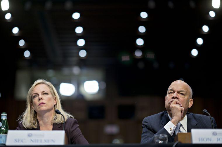 Homeland Security Secretary Kirstjen Nielsen and fmr. DHS Secretary Jeh Johnson.