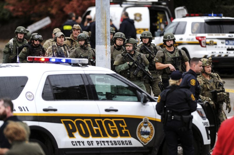 Click to copyhttps://apnews.com/23b04dc5e5af4129b544ab50cbba3dd6 RELATED TOPICS AP Top News Religion Pennsylvania North America Pittsburgh Shootings Race and ethnicity Crime U.S. News Gunman attacks Pittsburgh synagogue, killing 11 people By MARC LEVY and MARK GILLISPIE 32 minutes ago  1 of 8 Law enforcement officers secure the scene where multiple people were shot, Saturday, Oct. 27, 2018, at the Tree of Life Congregation in Pittsburgh's Squirrel Hill neighborhood. (Alexandra Wimley/Pittsburgh Post-Gazette via AP)