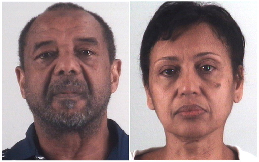 Mohamed Toure, left, and Denise Cros-Toure, a couple who lived in a Dallas-Fort Worth suburb, were found guilty of enslaving a Guinean girl for 16 years. (Credit: Tarrant County Sheriff's Department, via Associated Press)