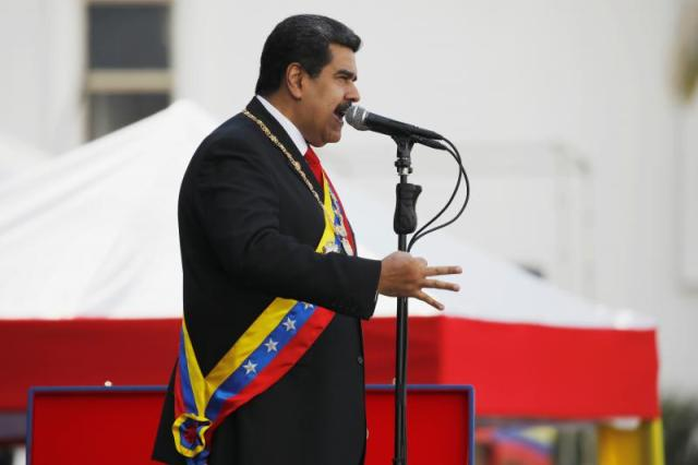 FILE PHOTO: Venezuelan President Nicolas Maduro speaks during a ceremony, after his swearing-in for a second presidential term, at Fuerte Tiuna military base in Caracas, Venezuela January 10, 2019. REUTERS/Adriana Loureiro/File Photo