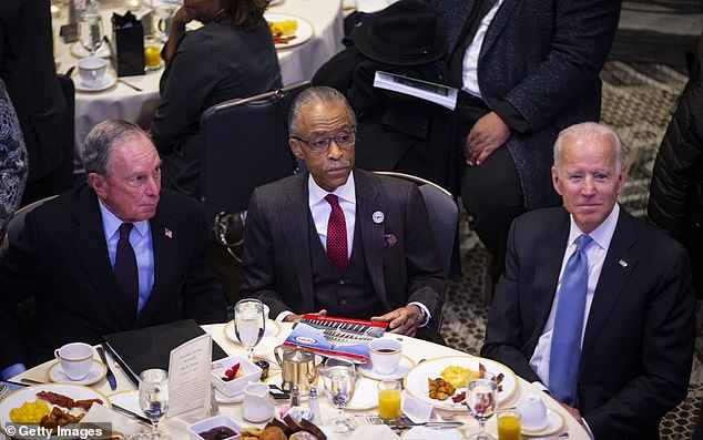 Joe Biden and Michael Bloomberg continued to fuel rumors of potential presidential runs as they joined Reverend Al Sharpton to celebrate Martin Luther King Jr Day in Washington DC.