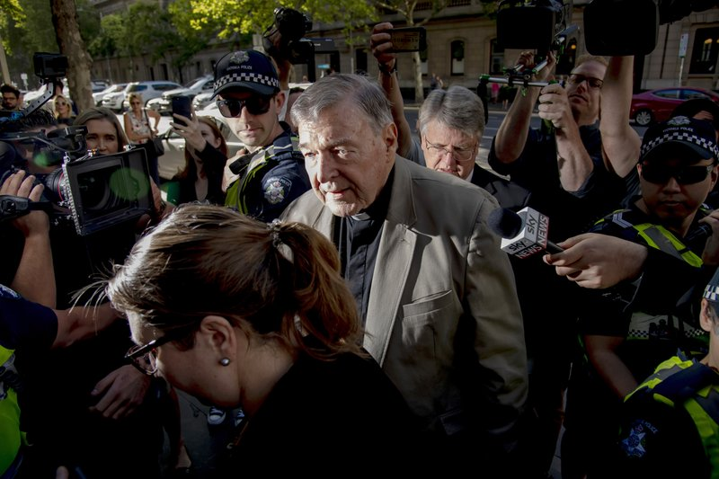 Cardinal George Pell arrives at the County Court in Melbourne, Australia, Wednesday, Feb. 27, 2019. The most senior Catholic cleric ever convicted of child sex abuse faces his first night in custody following a sentencing hearing on Wednesday that will decide his punishment for molesting two choirboys in a Melbourne cathedral two decades ago. (AP Photo/Andy Brownbill)