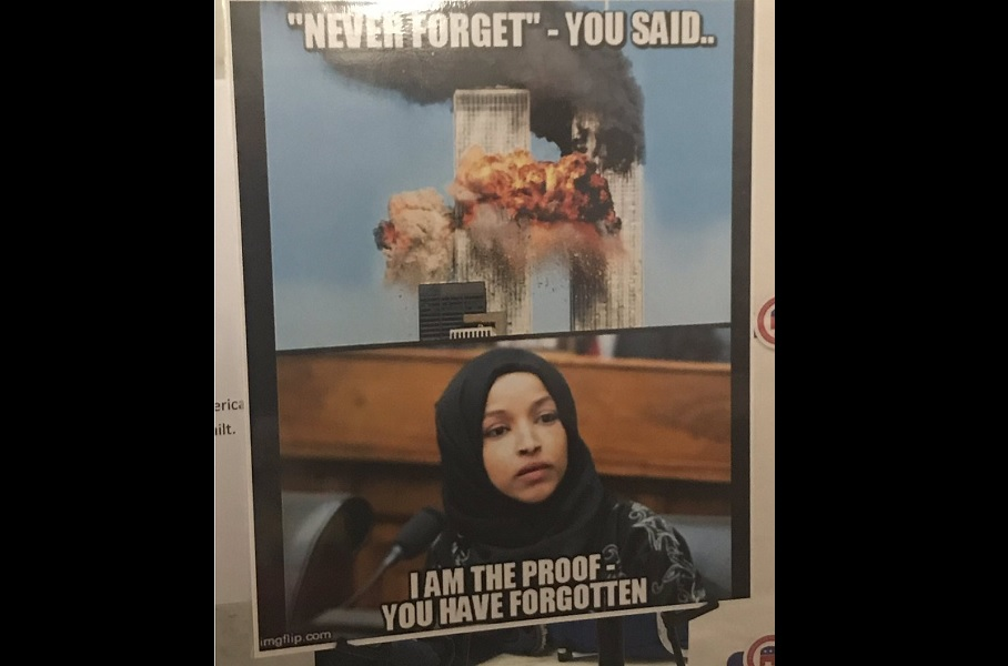poster tying rep  ilhan omar to 9  11 attack sparks violent