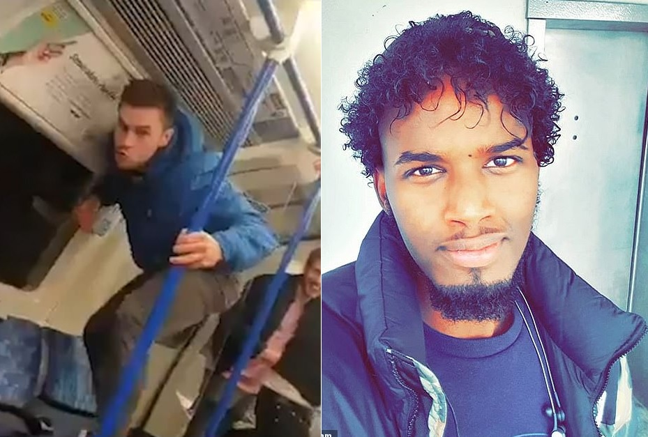 One of the group of six pretended to be a monkey and jumped from seat to seat as his friends laughed at him. // Mohammed Dirir, 27, was the victim of the vile racist abuse and said that he resisted the urge to fight the men.