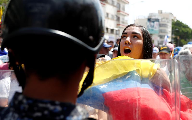 An opposition supporter takes part in a rally against Venezuelan President Nicolas Maduro's government in Caracas, Venezuela March 9, 2019. REUTERS/Carlos Jasso