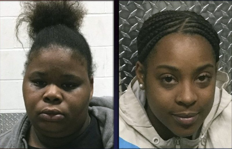 This photo provided by the North County Police Cooperative shows, Wilma Brown, left, and Ariana Silver who are both charged with abuse of a child stemming from incidents at Brighter Daycare in February 2019. The two Missouri day care center workers face felony charges after surveillance video showing a 3-year-old girl being thrown against a cabinet went viral. St. Louis County prosecutors filed child abuse charges Thursday, Feb. 28, 2019, against the woman who allegedly threw the child into the cabinet, 27-year-old Brown. The incident occurred Feb. 1 at Brighter Day Care and Preschool. (North County Police Cooperative/St. Louis Post-Dispatch via AP)
