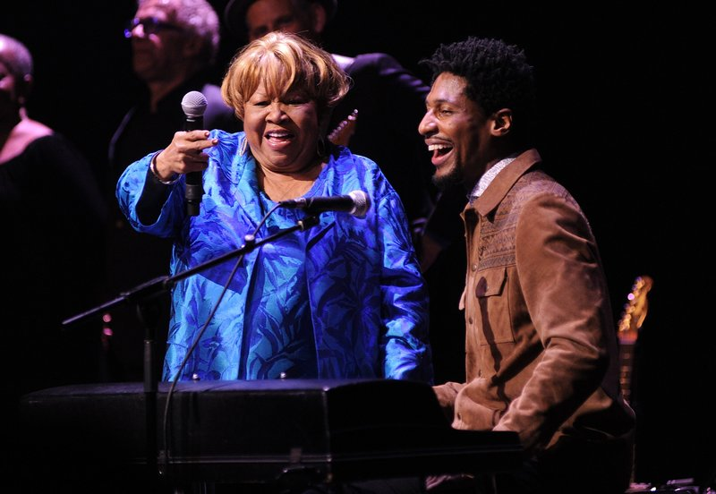 """Singer Mavis Staples, left, and Jon Batiste perform at the Apollo Theater to celebrate the release of her new album """"We Get By,"""" on Thursday, May 9, 2019, in New York. (Photo by Brad Barket/Invision/AP)"""